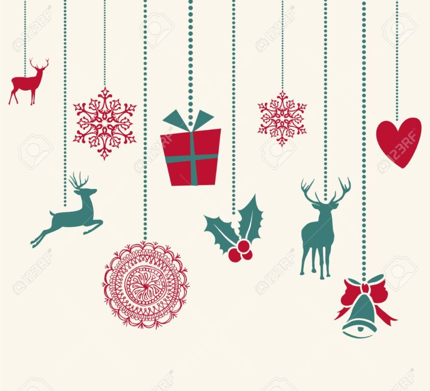 Merry Christmas hanging decoration elements composition.